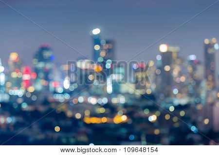 Abstract blurred bokeh lights city background