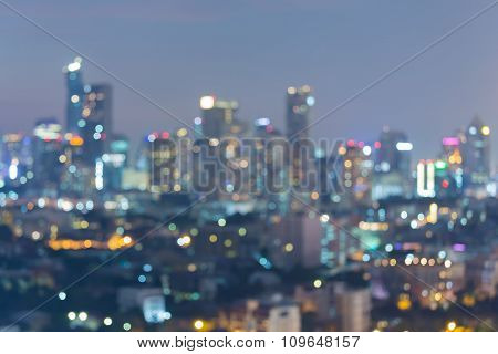 Blurred bokeh lights city downtown abstract background