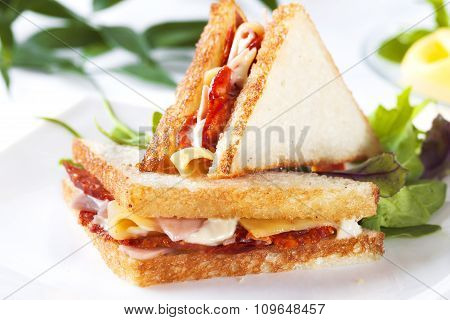 two sandwich with ham and cheese butter spices, sausage, pepperoni, chorizo
