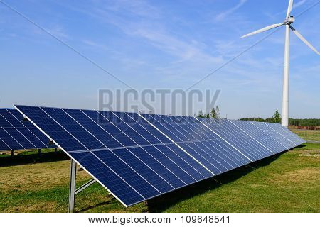 Solar Panel Produces Green, Environmentally Friendly Energy From The Sun With Blue Sky