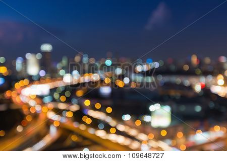 Night of blurred big city road aerial view