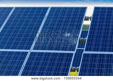 Pieces Of Splitted Or Cracked Defect  Solar Panel, Toned In Blue, Close-up