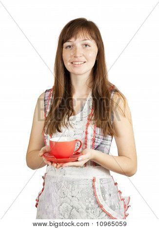 Smiling Girl With Tea Cup