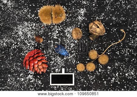 Natural Christmas Decoration Of Leaves, Pinecone, Chestnuts And Nuts