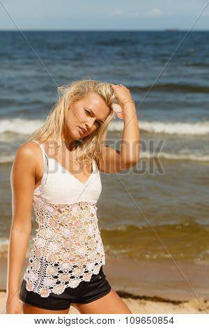 Pretty Girl On Beach.