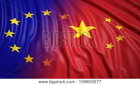 Close-up of EU and Chinese flags