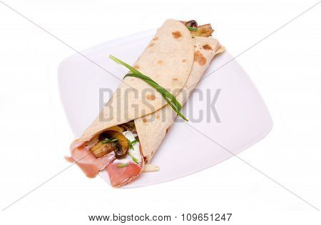 Flatbread with bacon and mushrooms
