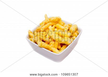 Snack corn cheese in bowl square