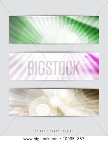 Abstract backgrounds with vector design elements. Banner set.