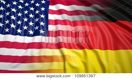 Close-up of American and German flags