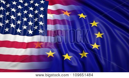 Close-up of American and EU flags
