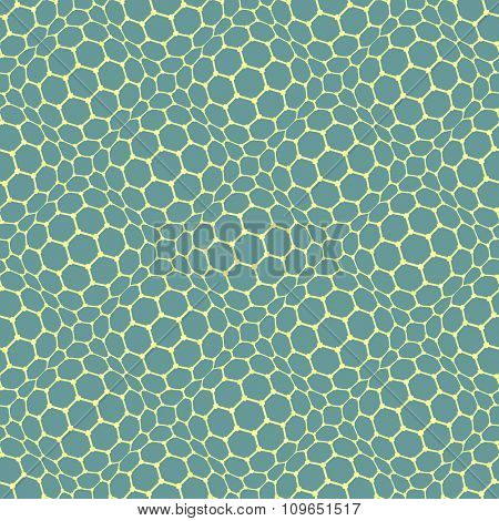 Seamless reticulate texture. Hexagonal cells pattern. Vector art.