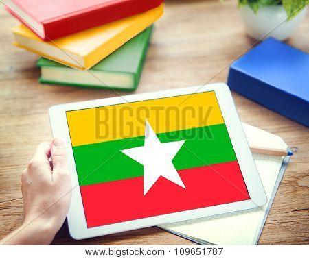 Myanmar National Flag Government Freedom LIberty Concept