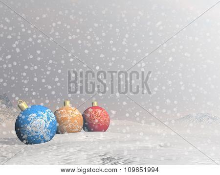 Colorful Christmas balls - 3D render