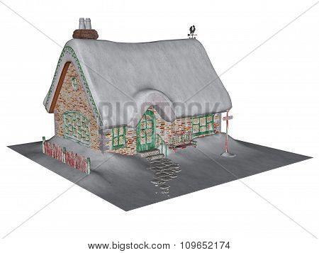 Cottage in winter - 3D render