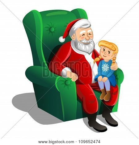 Santa Claus Sitting In Armchair With Little Girl. Vector Christmas Scene.