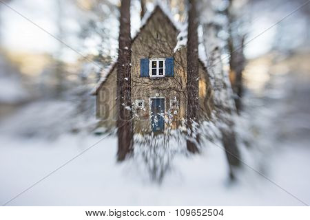 Im Wald, House With Snow In A Forest