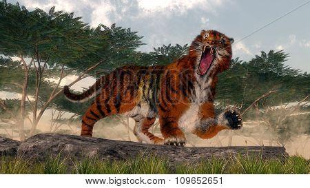 Tiger roaring - 3D render