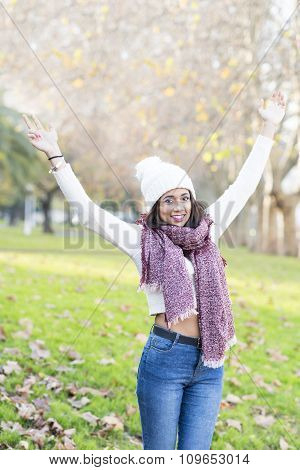 Happiness Positive Woman With Hat And Scarf Spreading Hands, Outdoor.
