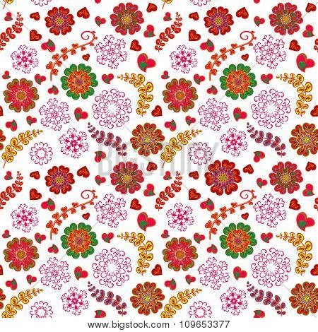 Ornate floral seamless texture, endless pattern with flowers looks like retro. Seamless pattern can