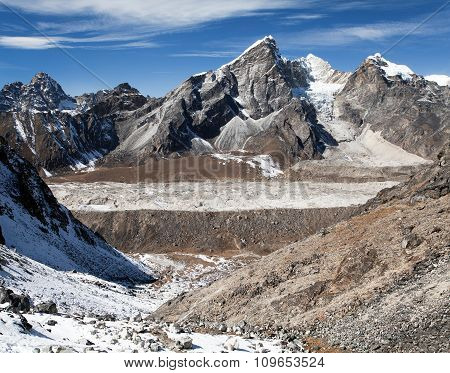 Khumbu Glacier And Lobuche Peak From Kongma La Pass