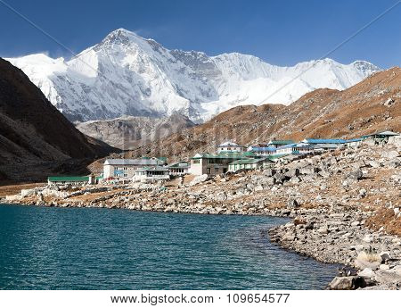 View Of Gokyo Lake And Village With Mount Cho Oyu