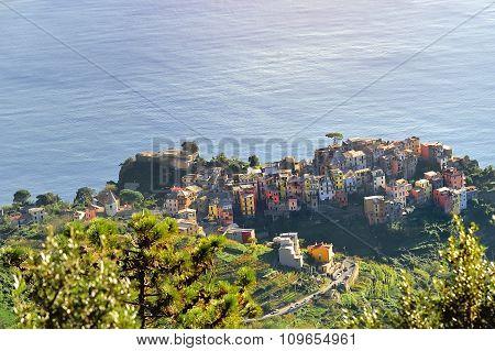 Riomaggiore Panoramic View Over Mediterranean Sea, Cinque Terre, Italy