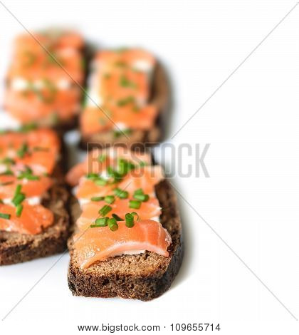 Sandwiches With Salted Salmon, Rye Bread, Cream Cheese