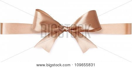 Beige satin bow isolated on white background