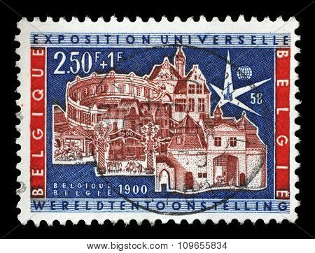 BELGIUM - CIRCA 1958: A stamp printed by Belgium shows World Exhibition Brussels, circa 1958.