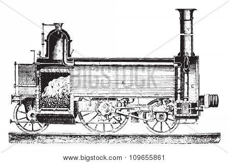 Longitudinal section of a locomotive, vintage engraved illustration. Industrial encyclopedia E.-O. Lami - 1875.