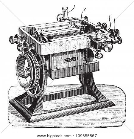 Machine with two combined spools, Mr. Finds, vintage engraved illustration. Industrial encyclopedia E.-O. Lami - 1875.