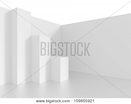 3d Interior Design. White Abstract Background
