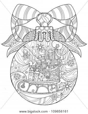 Hand drawn Christmas glass ball doodle sketch