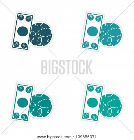 Set of stylish sticker on paper Money and Earth