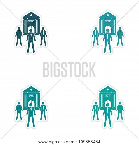 Set of stylish sticker on paper Bank and businessman