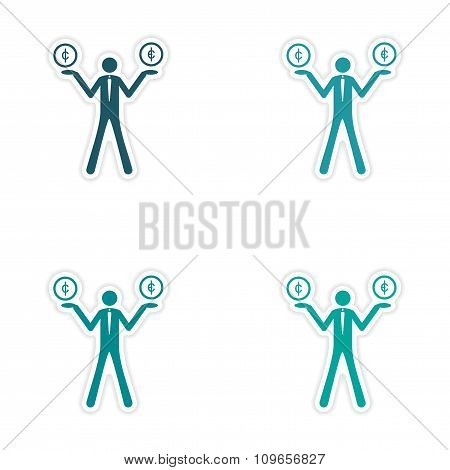 Stylish assembly sticker on paper People with coins