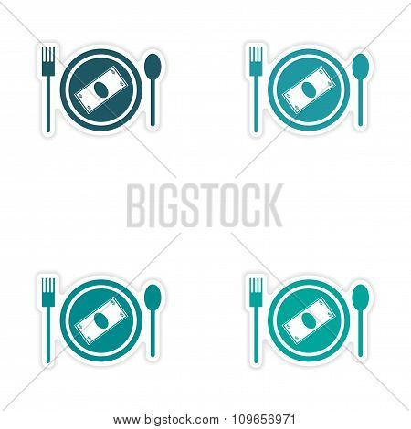 Set of stylish sticker on paper money in plate