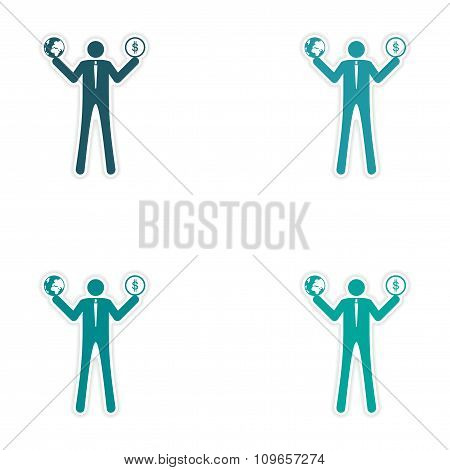 Set of stylish sticker on paper man holding globe and coin