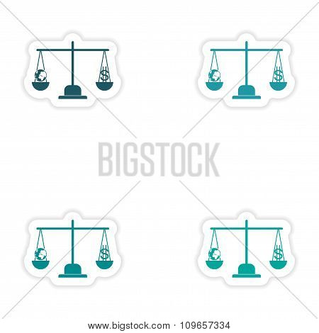 Set of stylish sticker on paper globe and money on scales