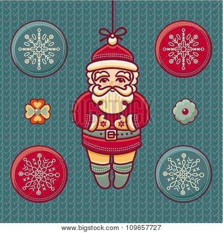 Santa Claus. Set of color Christmas toys.