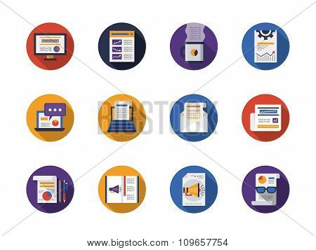 Round flat color web articles vector icons set