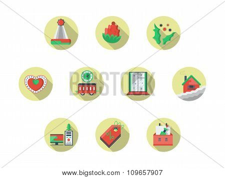 Christmas theme round flat color vector icons set
