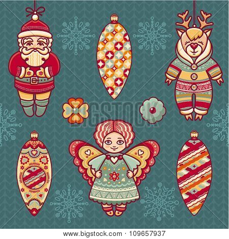 Angel, reindeer, Santa Claus, snowflake, ball.