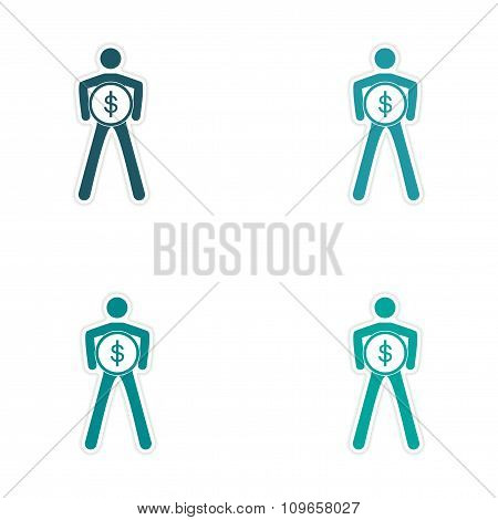 Set of stylish sticker on paper person with coin