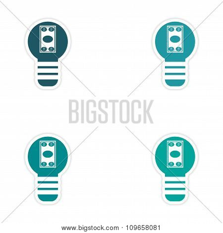 Set of stylish sticker on paper bill in light bulb