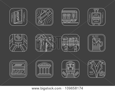White line railway vector icons collection