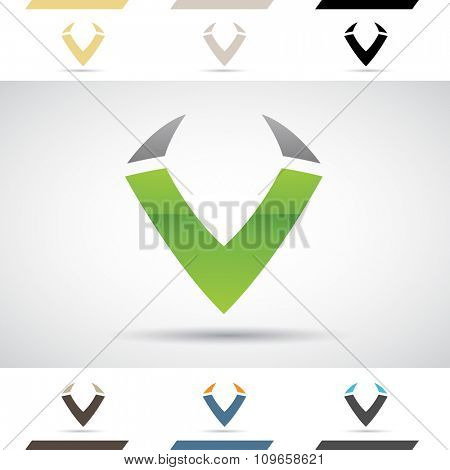 Design Concept of Colorful Stock Icons and Shapes of Letter V, Vector Illustration