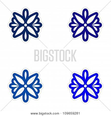 Set of paper stickers on white background Arabic flower