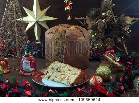 Pandoro, Typical Italian Christmas Cake With Butter And Powdered Sugar